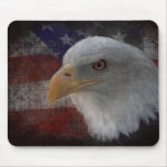 Patriotic American Bald Eagle on Flag Mouse Pad