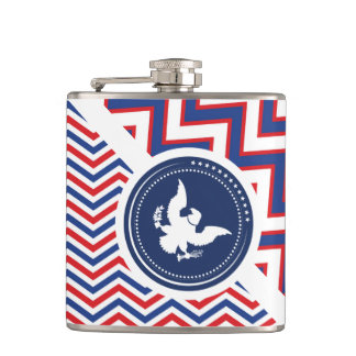 Patriotic American Chevron with Eagle Hip Flask