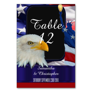 Patriotic American eagle and flag Table Cards