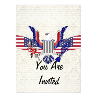 Patriotic American eagle flag Custom Invitation