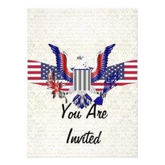 Patriotic American eagle & flag Custom Invitation