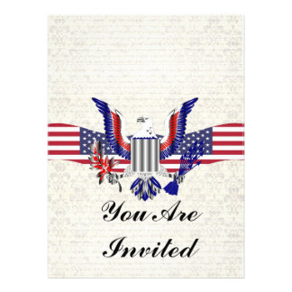 Patriotic American eagle & flag Custom Invites
