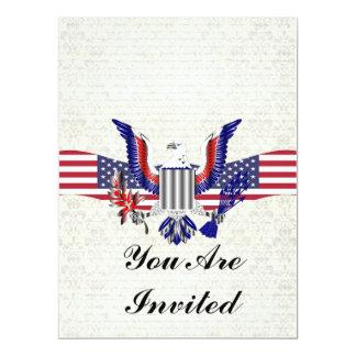 Patriotic American eagle & flag 17 Cm X 22 Cm Invitation Card