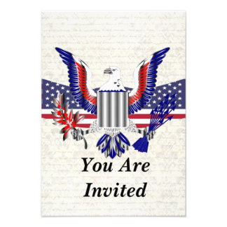 Patriotic American eagle flag Personalized Invite