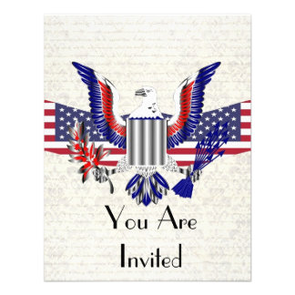 Patriotic American eagle flag Personalized Invites
