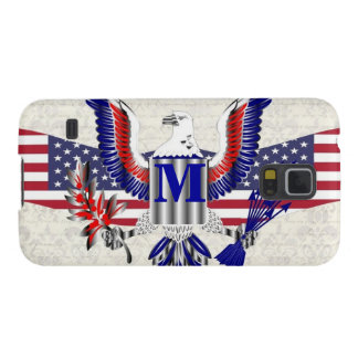 Patriotic American eagle personalized monogram Galaxy S5 Covers