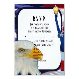 Patriotic American eagle wedding R.S.V.P Announcements