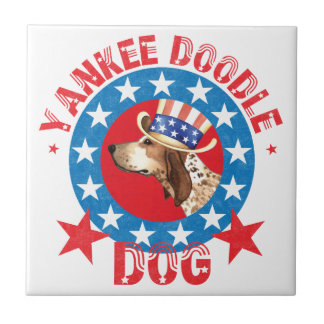 Patriotic American English Coonhound Small Square Tile
