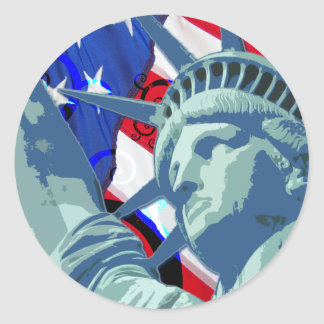 Patriotic American Flag and Statue of Liberty Classic Round Sticker