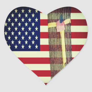 Patriotic American Flag and Yellow Ribbon Sticker Stickers