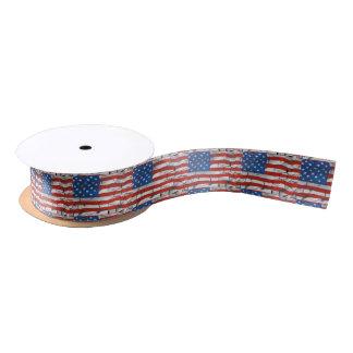 Patriotic American Flag Cracked Worn Paint Satin Ribbon