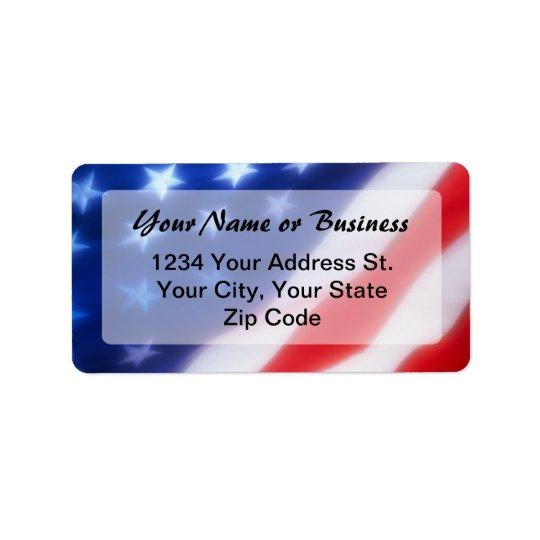 Patriotic American Flag Custom Address Label