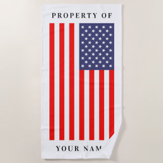 Patriotic American flag custom beach towel