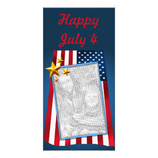 Patriotic American Flag Customizable Photo Card