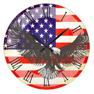 Patriotic American flag eagle roman wall clock
