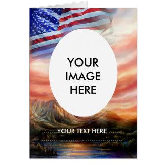 Patriotic American Flag Flying High Greeting Card