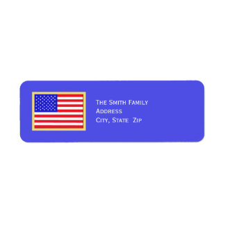 Patriotic American Flag on Blue