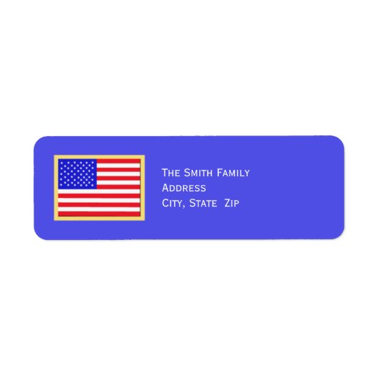 Patriotic American Flag on Blue
