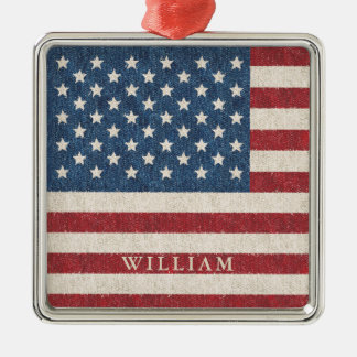 Patriotic American Flag Personalized Christmas Ornament