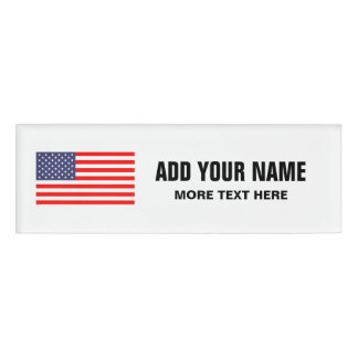 Patriotic American flag personalized name tags