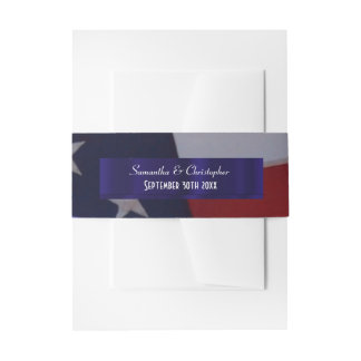 Patriotic American flag personalized wedding Invitation Belly Band
