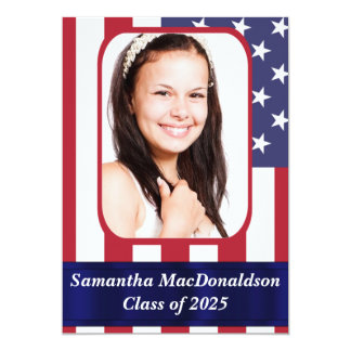 Patriotic American flag photo graduation 13 Cm X 18 Cm Invitation Card