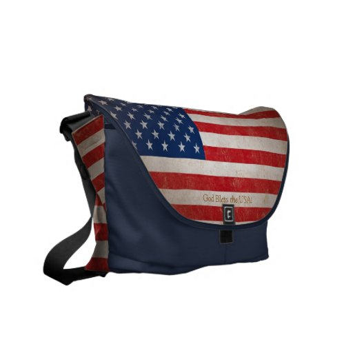 Patriotic American Flag Red White and Blue Bookbag Courier Bag