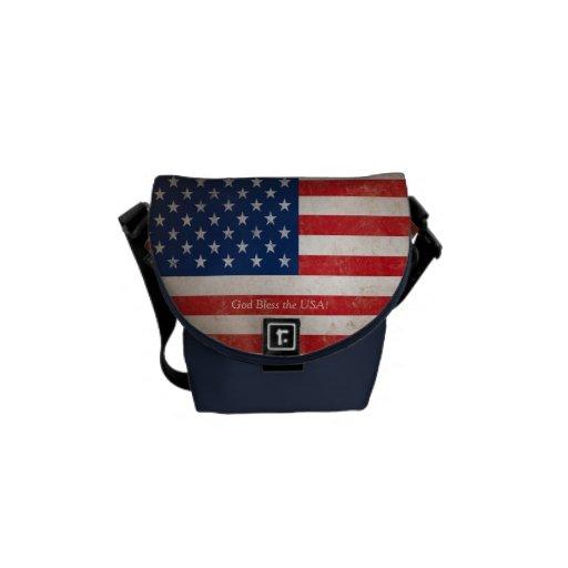 Patriotic American Flag Red White Blue Messenger Bag