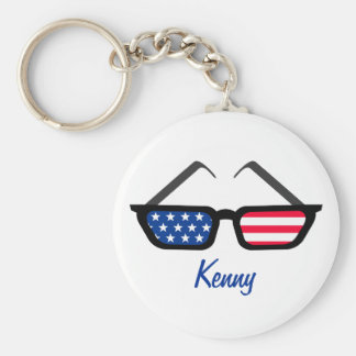Patriotic American Flag Retro Sunglasses Basic Round Button Key Ring