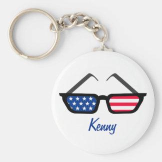 Patriotic American Flag Retro Sunglasses Basic Round Button Key Ring