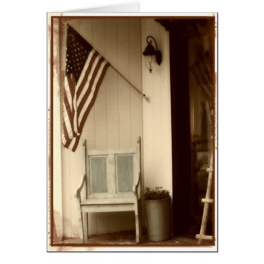 Patriotic American Flag Sepia Note Card