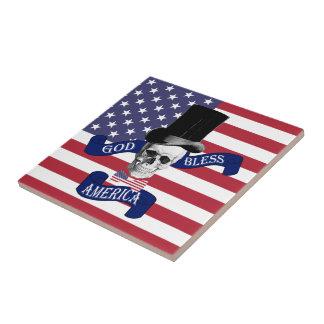 Patriotic American flag Small Square Tile