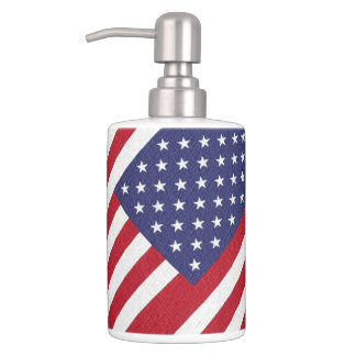 Patriotic American Flag Soap Dispenser And Toothbrush Holder
