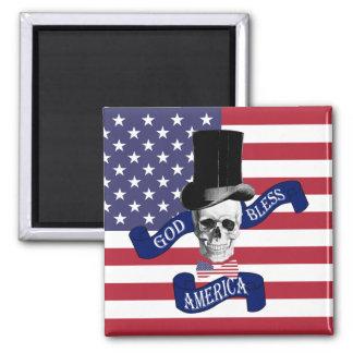 Patriotic American flag Square Magnet