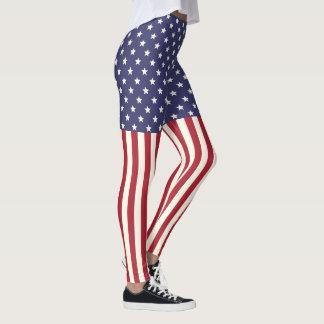 Patriotic American Flag Stars and Stripes USA Leggings