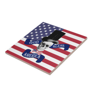 Patriotic American flag Small Square Tile