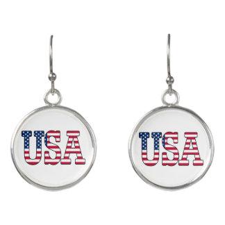 Patriotic American Flag USA Earrings