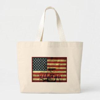 Patriotic American Flag Veteran Canvas Tote Bags