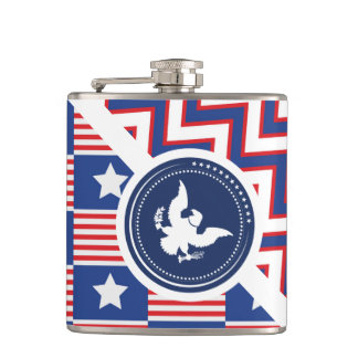 Patriotic American Flag with Eagle Flask