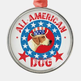 Patriotic American Foxhound Silver-Colored Round Decoration