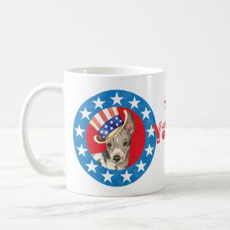 Patriotic American Hairless Terrier Coffee Mug