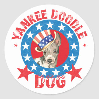 Patriotic American Hairless Terrier Round Sticker