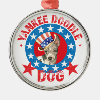Patriotic American Hairless Terrier Silver-Colored Round Decoration