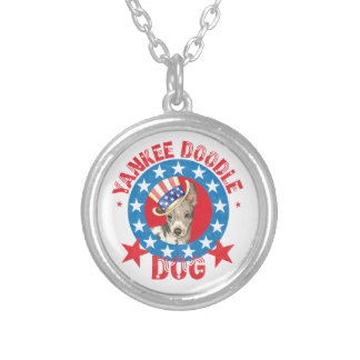 Patriotic American Hairless Terrier Silver Plated Necklace