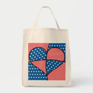 Patriotic American hearts Tote Bag