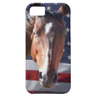 Patriotic American Horse Flag Tough iPhone 5 Case