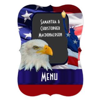 Patriotic American icon wedding menu Cards