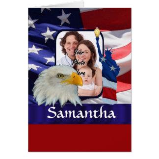 Patriotic American photo template Greeting Card