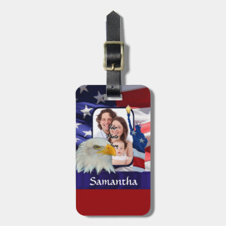 Patriotic American photo template Luggage Tag