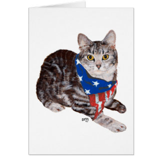 Patriotic American Shorthair Tabby Cat Card